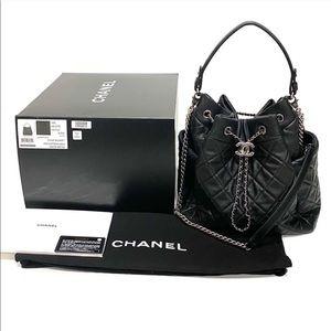 CHANEL Medium Black CC Chain Bucket Bag Lambskin